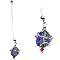 Handcrafted Glass Pregnancy Belly Ring Created with Swarovski Crystals   Body Candy Body Jewelry