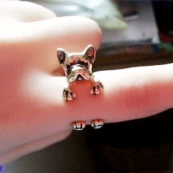 Hugging Puppy Wrapping Finger Cuff Ring - LilyFair Jewelry