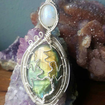 Labradorite and Rainbow Moonstone Tree of Life Wire Wrapped Necklace Silver Wire