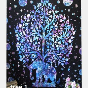LMF9GW Indian Mandala Tapestry Wall Hanging Beach Elephant Tree Tapestry Rectangle Boho Bohemian Beach Towel Yoga Mat