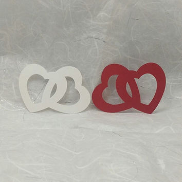 12 Linked Open Hearts, Scrapbooking, Embellishment, Card Making, Valentine Decoration