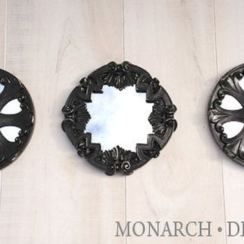 Black Mirror Set Of 3 Round Wall Mirrors Ornate Design Distressed Home  Decor Wall Decor