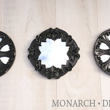 Black Mirror Set Of 3 Round Wall Mirrors Ornate Design Distressed Home Decor