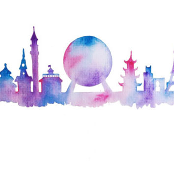 Disney EPCOT Skyline Watercolor Silhouette