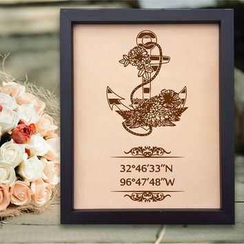 Lik165 Leather Engraved Wedding 3rd anniversary personalized gift Latitude Longitude home places wedding date anchor symbol