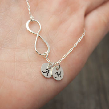 Personalized Infinity Necklace - Sterling Silver Initial Necklace . Personalized Jewelry . Monogram, Couples Necklace . Gift for Girlfriend