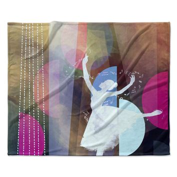 "AlyZen Moonshadow ""PINK BALLET"" Multicolor Geometric Fleece Throw Blanket"