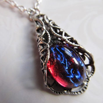 Dragons Breath Opal Necklace Art Nouveau Necklace Mexican Fire Opal Necklace Opal Necklace Sterling Necklace Filigree Necklace- My Delight