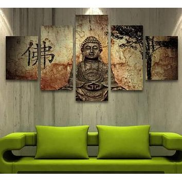 5 Panel Zen Buddha Modern Home Wall Decor Painting Canvas Art HD Print Painting Canvas Wall Picture For Home Decor Buddha Art