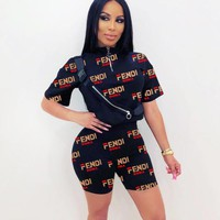 Fendi New fashion more letter print top and shorts two piece suit Black