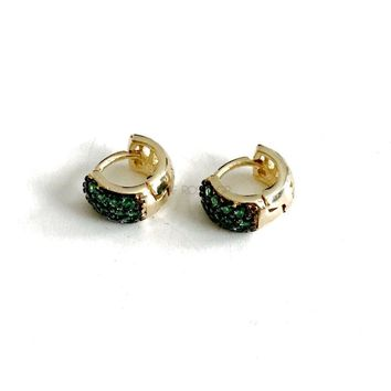 Emerald Crystals Huggies 18kts of Gold plated earrings
