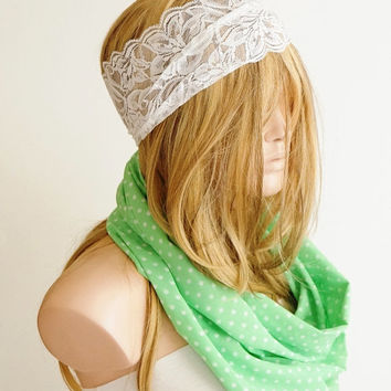 NEW SEASON Infinity Scarf,Loop Scarf, Circle Scarf, Cowl Scarf ,Soft scarf..Chiffon scarf....Mint Green, cream..Dotted