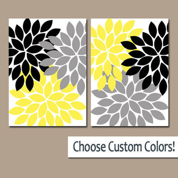 YELLOW Black Gray WALL Art Canvas or Prints Bathroom Artwork Bedroom Pictures Nursery Decor Floral Dahlia Flower Burst Petal Set of 2