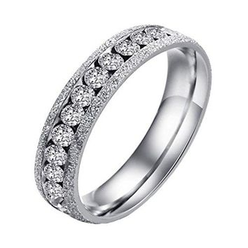PAMTIER Couples Stainless Steel AAA Zirconia Wedding and Engagement Promise Ring