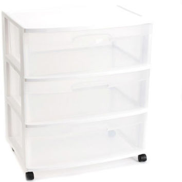 Walmart: Sterilite 3 Drawer Wide Cart- White