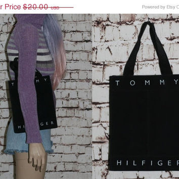 90s Tommy Hilfiger HandBag Black Purse hipster grunge Cyber goth pastel Grunge Hipster Club Kid Rave Shinny Vegan Bag