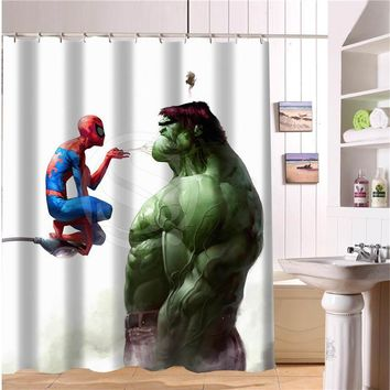 Custom The avengers, Marvel hero shower curtain new large European and American big ideas print edition polyester bath curtain