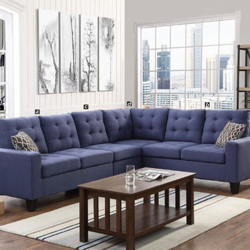 Oadeer Home D6706 4 pc collette collection blue polyfiber faux linen fabric upholstered sectional sofa