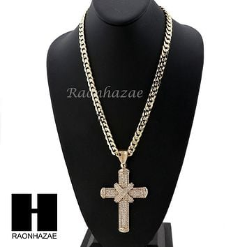 MENS LARGE CROSS PENDANT & DIAMOND CUT CUBAN LINK CHAIN NECKLACE N58