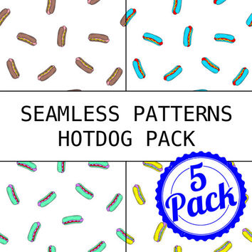 Seamless Patterns JPG Files - Hotdog Pack - Digital Scrapbook Paper Pack