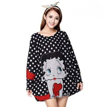 Long Sleeve Top  with Betty Boop on Black Background and Grey  Dots -1X