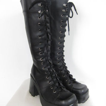 90s Goth Grunge Black Leather Chunky Heeled Platform Boots STEVE MADDEN Size 9 Us/Ca