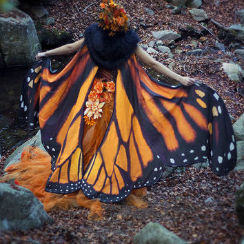 Monarch Butterfly cape cloak orange and black isis wings costume cosplay