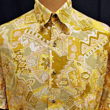 Vintage 80s Shirt Bright Alt-Paisley Crazy Geometric Pattern Chef Large