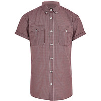 River Island MensDark red check military shirt