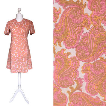 1960's Dress | 60's Vintage Dress | Summer Dress | Tangerine Orange And Pink Dress
