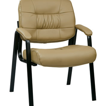 Work Smart Bonded Leather Visitors Chair with Steal Base and Padded Arms - Tan