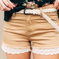 On the Edge Khaki Shorts