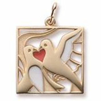 Two Turtle Doves Charm In Yellow Gold