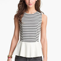 Lily White Faux Leather Peplum Tank (Juniors) | Nordstrom