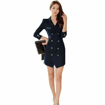 2018 New Fashion Women Business Uniforms Suits Long-Sleeve Jackets Tailored Dresses Conjunto De Blazer E Vestido Feminino dress