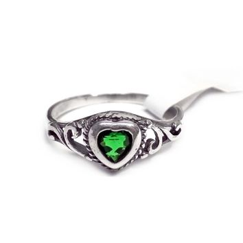 Sterling Silver Children's Heart Ring with Emerald Green (May) CZ Heart