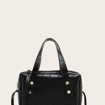 Croc Embossed Satchel Bag With Double Handle