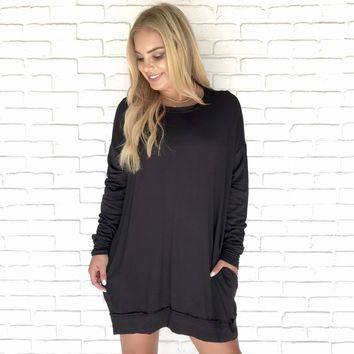 Cold Front Black Sweater Dress