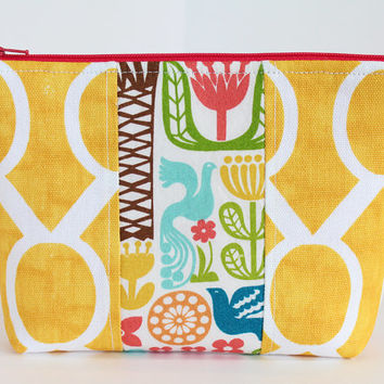 Padded  Zipper Pouch Cosmetic Case or Accessory Bag with Yellow Fabric and Tropical Center Accent