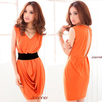 Womens Elegant Sleeveless V-neck Sexy Keyhole Backless Drape Mini Dresses Casual