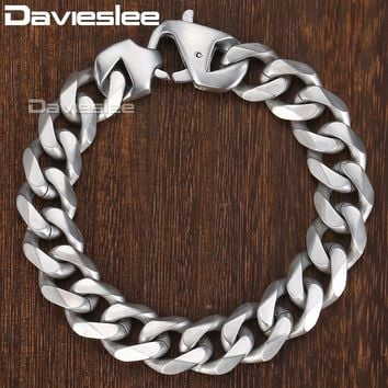 Davieslee Matte Polished Mens Bracelet Curb Cuban Link Chain 316L Stainless Steel Bracelet 14.5mm DHBM109