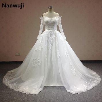 Luxury 2016 Lace Ball Gown Wedding Dresses Boat Neck Long Sleeve  Detachable Skirt Plus Size Princess Bridal Gowns Best Quality