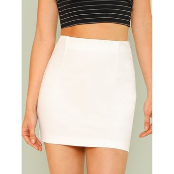 Solid Bodycon Skirt White