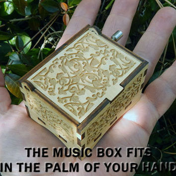 "Music Box, ""And I Love Her"" by the Beatles, Laser Engraved Wood Hand Crank Music Box"