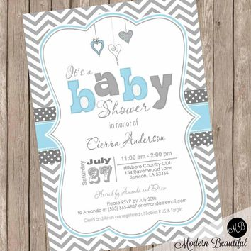 Baby blue and gray baby shower invitation, chevron invitation, baby shower invitation, heart invitation, typography, printable invitation