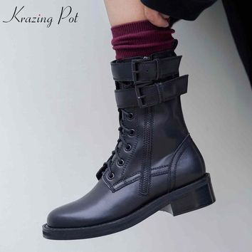 Krazing Pot beauty cow leather cow suede thick heels European round toe handsome rock punk style black color Chelsea boots L05