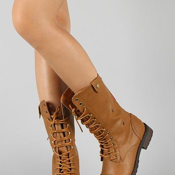 Plaid Cuff Lace Up Military Boot