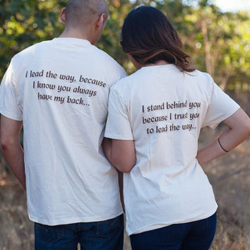 """Matching Couples Shirts, Anniversary Gift Idea, TShirt Set for Newlyweds or Lovebirds, """"I lead the way"""" & """"I stand behind you"""" Cute Tees"""