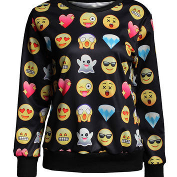 Black Emoji Print Long Sleeve Sweater