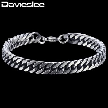 Davieslee Chain Bracelet for Men Stainless Steel Curb Cuban Link Mens Bracelets Chains Gunmetal Tone Fashion Jewelry 8mm DKBM149